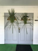 Palm leaves on Prospect Baptist Church's door