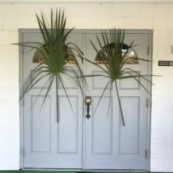 Palm leaves on Prospect Baptist Church's door